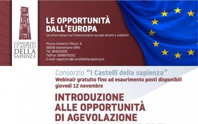Corso Webinar - 12 novembre 2020 - Introduzione alle opportunità di agevolazione di programmi europei
